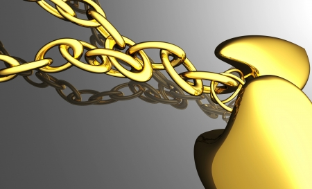 chain with two gold hearts Reklamní fotografie