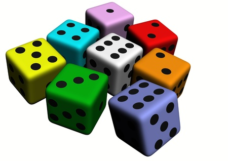 dice wood illustration isolated on withe background