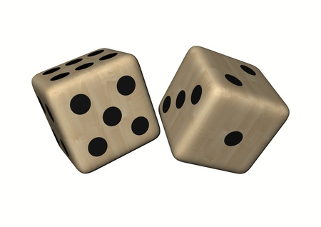 withe background: dice wood illustration isolated on withe background