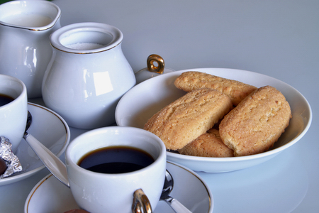 still lifes: Having breakfast at home with cookies, milk. Close-up of a set for breakfast Stock Photo