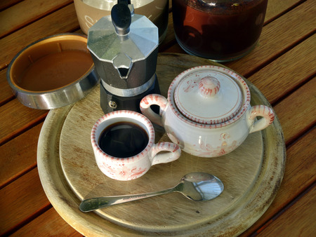 prepare espresso coffee in the morning at home.