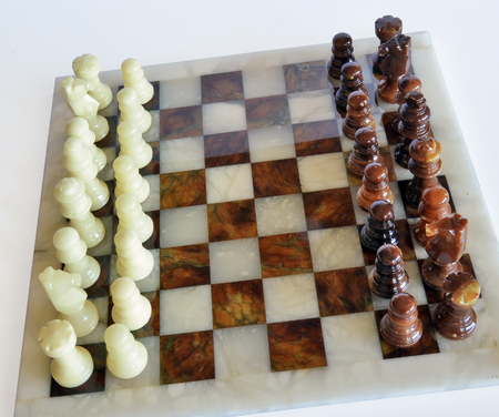 chess, playing a game, alabaster chessboard Banco de Imagens