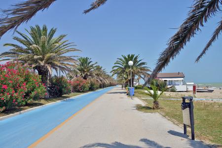 view of the promenade of Grottammare, Marche, Italy