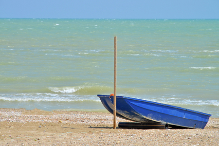 view of a small blue colored boat on the beach