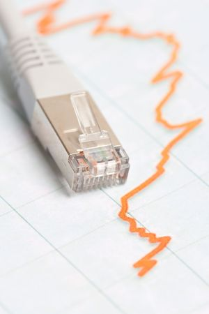 Internet cable with a speed diagram Stock Photo - 4669218