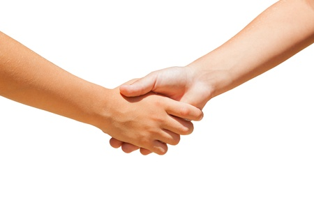 Two boys handshake. Only hands. White background. White separated