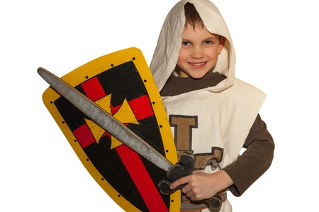 Boy in costiume of knight play and smile  White background