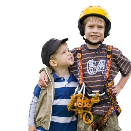 Two brothers  One in a harness for climbing  Hug  white background  Stock Photo - 15474965