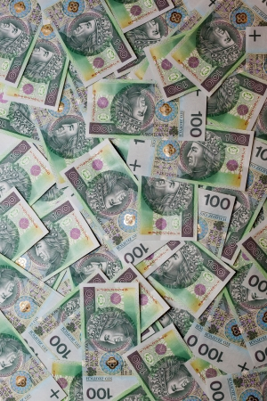 Full frame of 100 Polish Zloty  Front side  Stock Photo