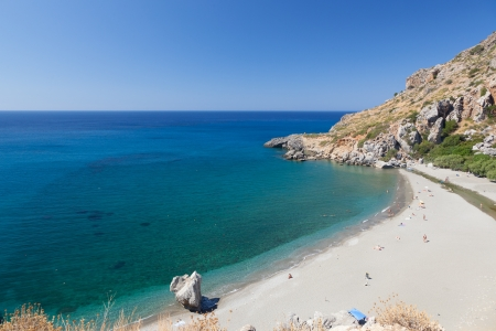 The beach near Preveli Beach. Greece. Crete. Beach, top view, people.