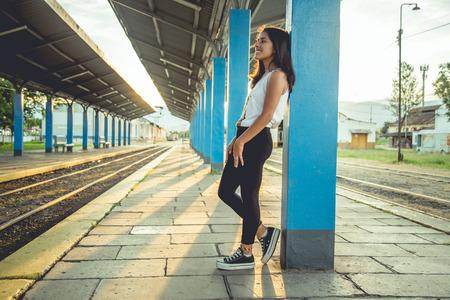 Girl Waiting Train