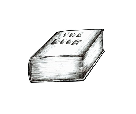 bookseller: Black and white drawing of a book   Illustration