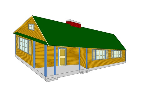 suburban home:  Country house - color vector illustration  Illustration