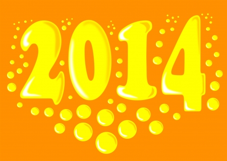 New year 2014 with bubbles - vector illustration   Vector