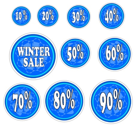 Winter sale stickers with snowflake - vector illustration   Vector