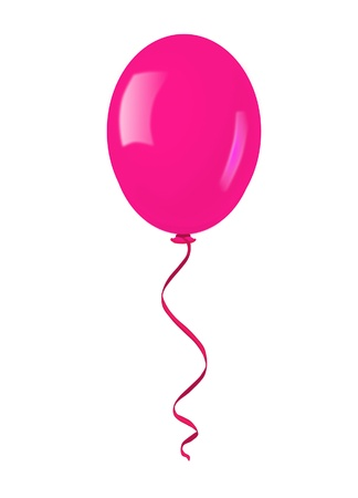 Single pink balloon - vector illustration   Illustration