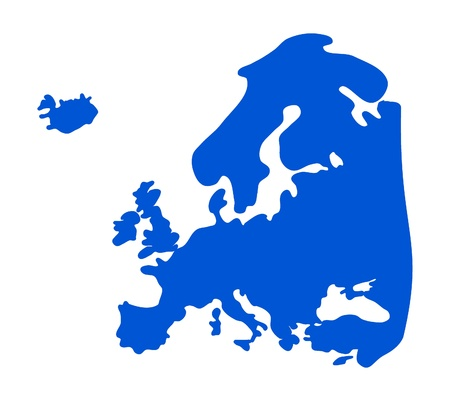Blue Europe silhouette - vector illustration    Vector