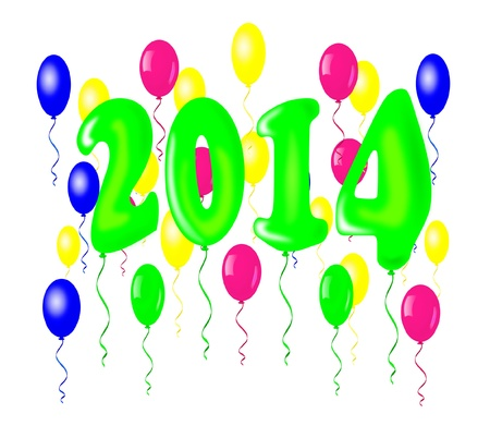 New year 2014, balloons design  Vector