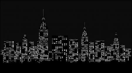 밤에 현대적인 도시