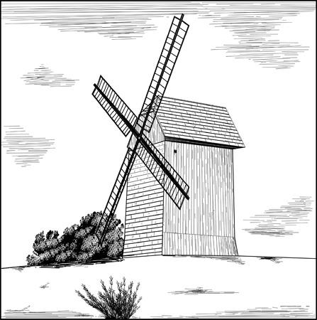 Old rural windmill - vector illustration   Illustration
