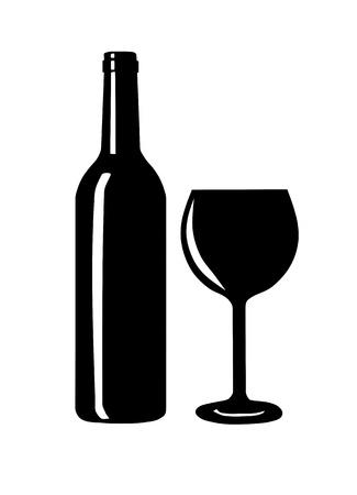 Fles en glas wijn silhouet - vector illustratie