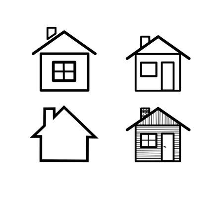 Verschillende vector huis iconen Stock Illustratie