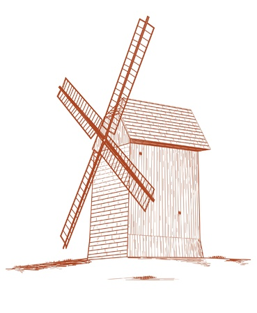 Old rural windmill - vector illustration Stock Vector - 22035993