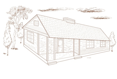 Country house -  hand drawn  Vector