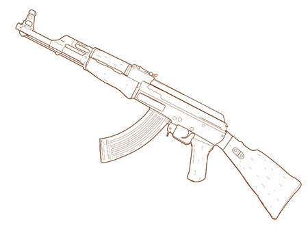 seize: Rifle AK 47 - hand drawn