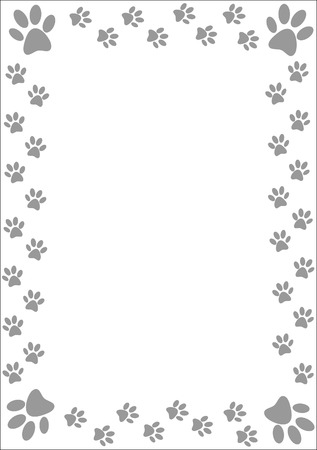 Gray paw prints border