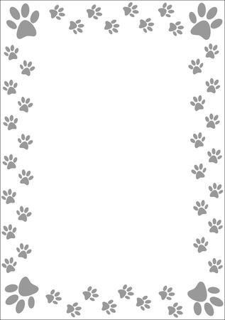 paw prints: Gray paw prints border