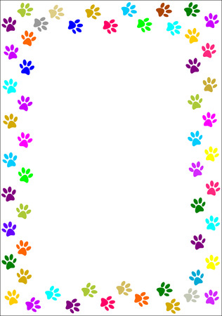 dog track: Colourful paw prints border
