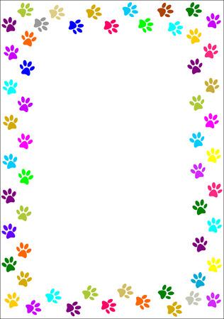 huellas de perro: Pata colorida imprime la frontera Vectores