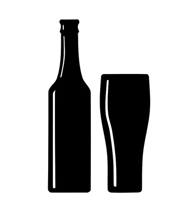 Beer bottle and glass silhouette   Vector