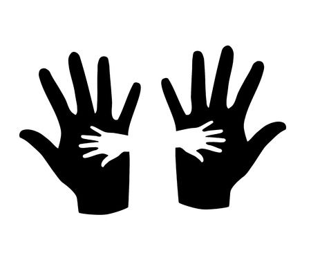 Black and white hands silhouette - vector illustration