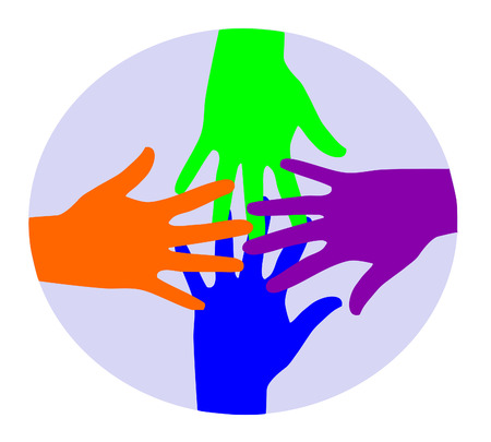 Colourful hands connecting Vector
