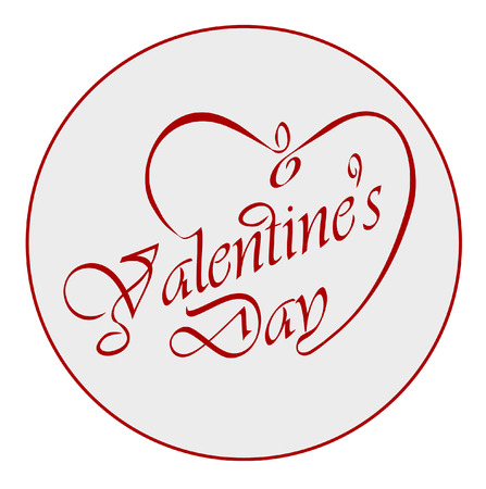 Calligraphic Valentine s headline with heart   Vector