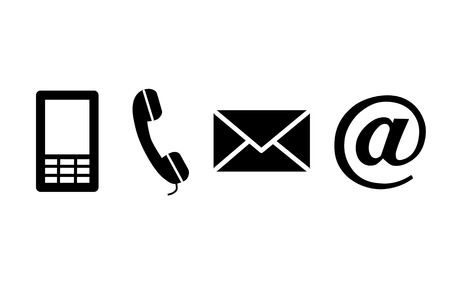 Contact black icons - vector illustration