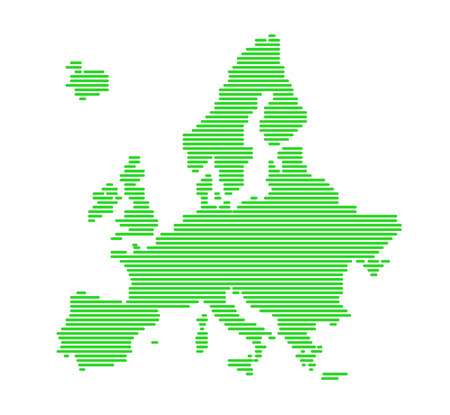 Green Europe silhouette with strips   Vector