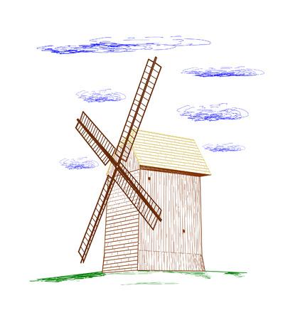 Rural windmill - vector illustration   Stock Vector - 24910115