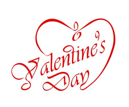 Calligraphic Valentine s headline with heart