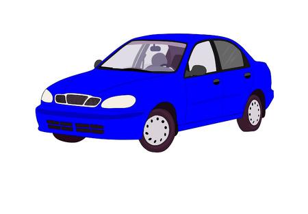 Blue modern car - vector illustration
