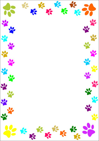 Colourful paw prints border  Vector