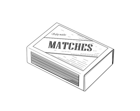 open flame: Matchbox - vector illustration