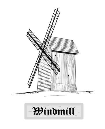 Rural windmill - vector illustration   Vector
