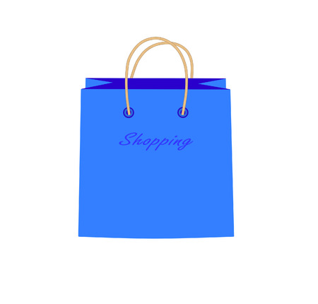 Blue shopping bag with the word  shopping