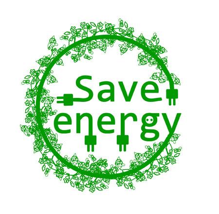 eco slogan: Ahorre energ�a con la rama Vectores