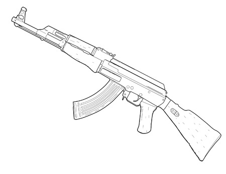 machine gun: Weapon AK 47 Illustration