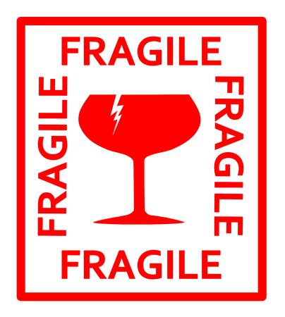 Fragile rood teken Vector Illustratie