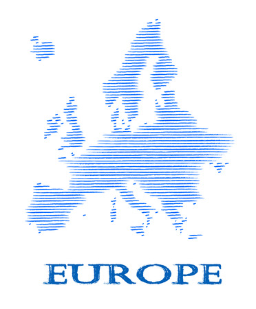 Europe silhouette with strips - illustration. Illustration